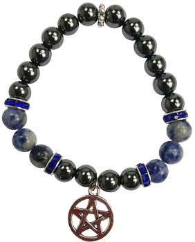 Hematite and Sodalite Bracelet with Pentagram